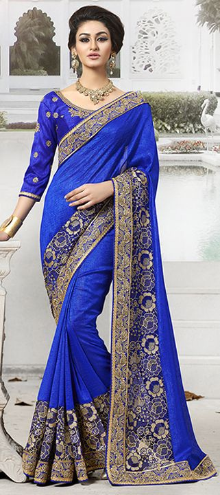 176391: Blue color family Embroidered Sarees, Party Wear Sarees with matching unstitched blouse.