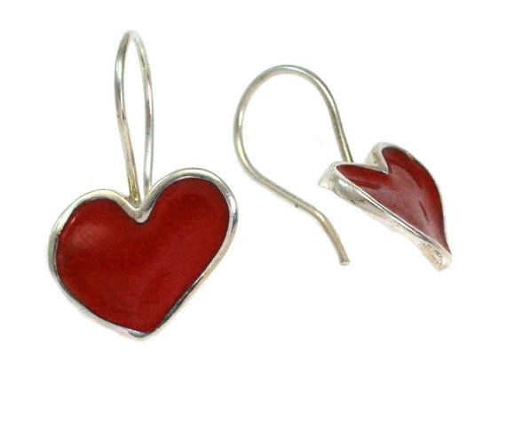 Heart Earrings, Dangle Earrings, Red Enamel Heart Earrings, Blue Heart Earrings, Heart Valentine, Gift for her, Giampouras