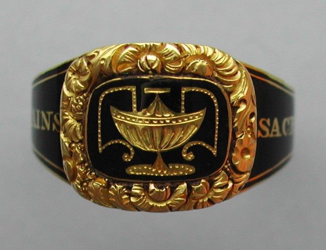 An example of Regency era rings, 1818 (mourning jewelry)