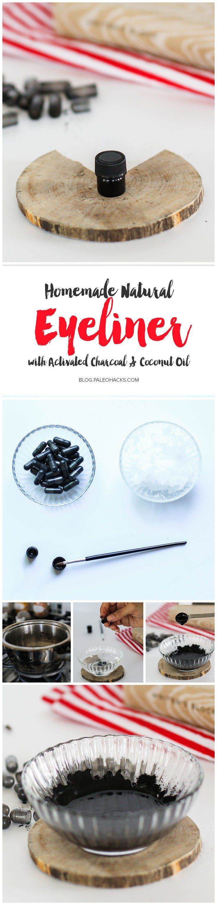This simple, natural eyeliner is made of activated charcoal that's free of icky toxins. The best part: it'll stay put throughout your day, and it won't smudge! Get the recipe here: http://paleo.co/naturaleyeliner