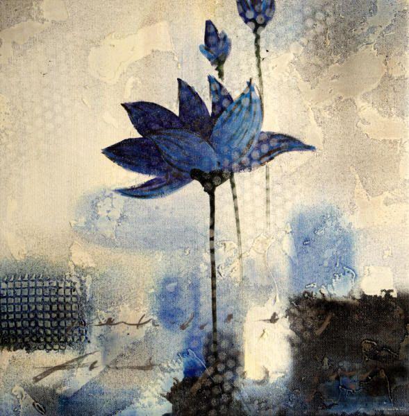 Cuadros modernos, cuadros de flores y plantas, III-Flores azules