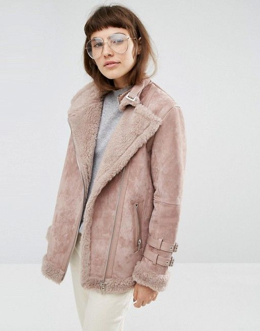 ASOS | ASOS Suede Aviator Jacket with Faux Shearling