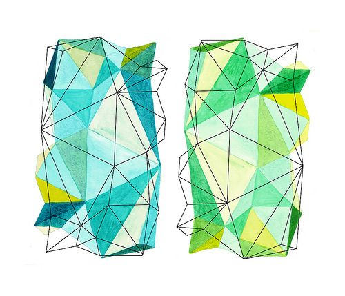 dot, connect, draw, fill, flip. repeat.  cyan & green origami instructions       Bright colours, fine line overlay, natural/summery colours