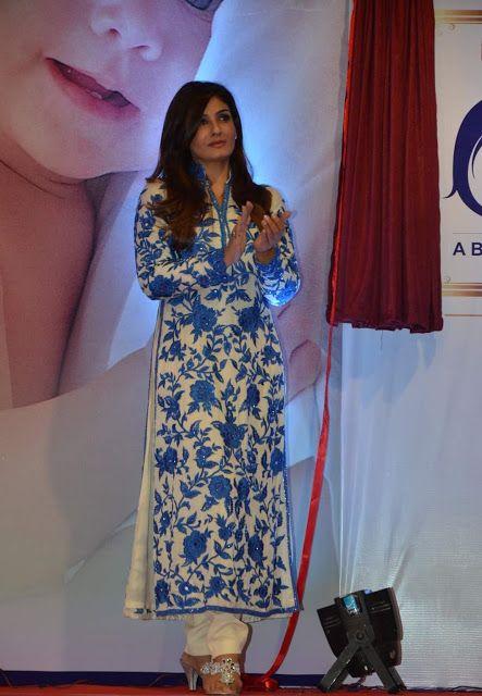 Raveena Tandon in Manish Malhotra Floral Embroidered Salwar Suit