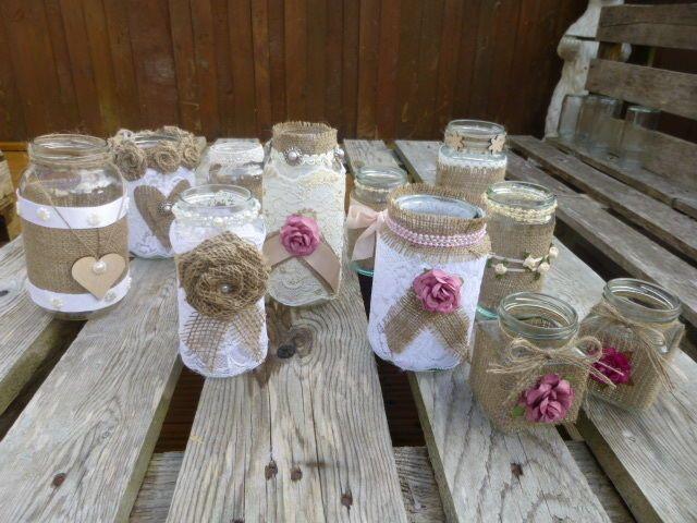 SHABBY CHIC VINTAGE WEDDING DECORATED GLASS JAR TEA LIGHT HOLDERS / FLOWERS
