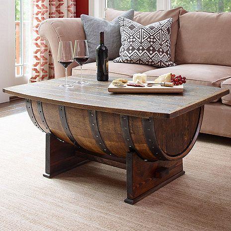 Handmade Vintage Oak Whiskey Barrel Coffee Table at Wine Enthusiast - $995.00