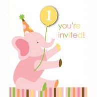 Girls Elephant Invitations (8pk) $7.95 20895101