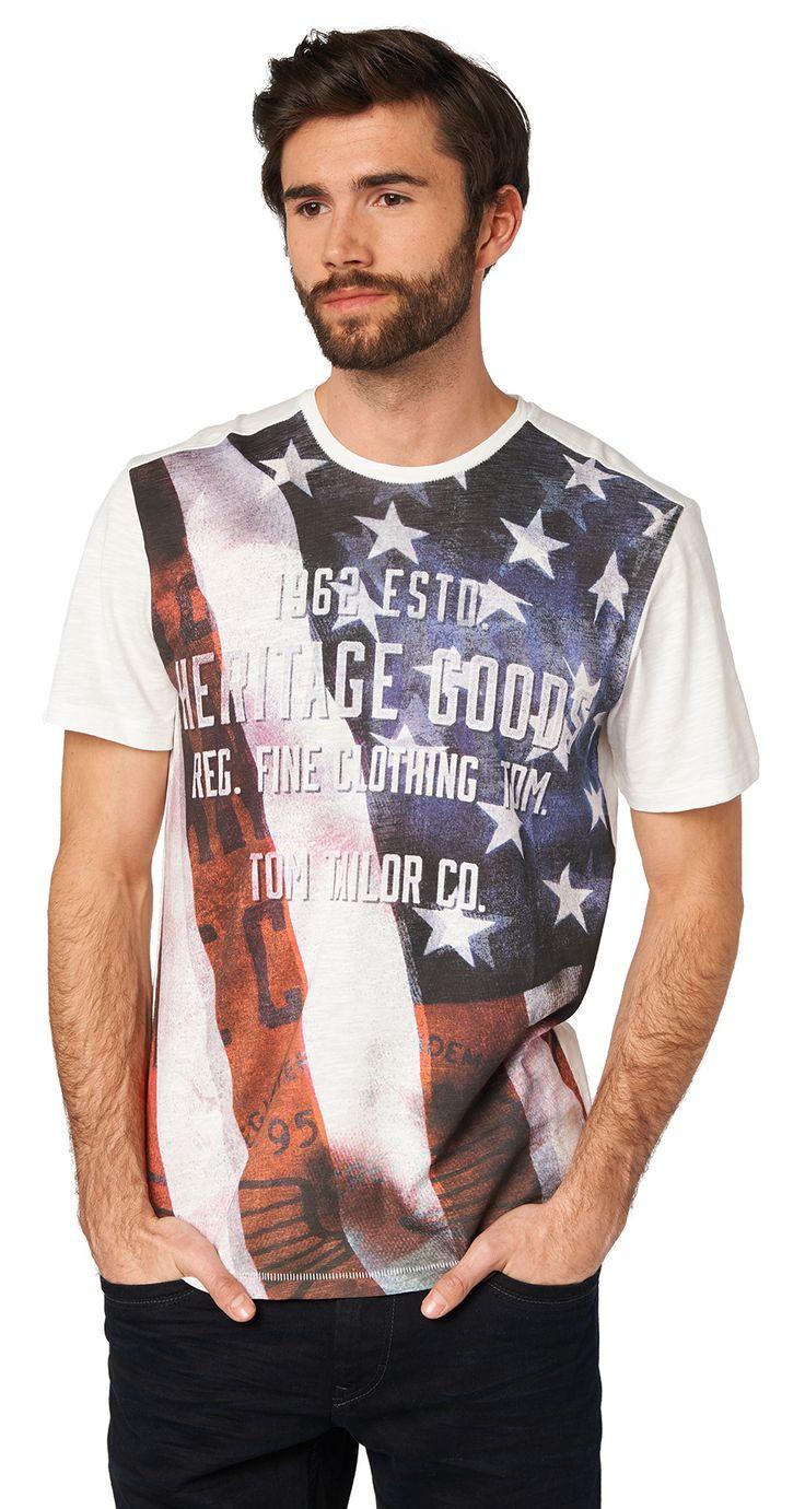 Camiseta con la bandera americana imprimir para los hombres (de color liso con una impresión, manga corta con cuello redondo) - TOM MEDIDA