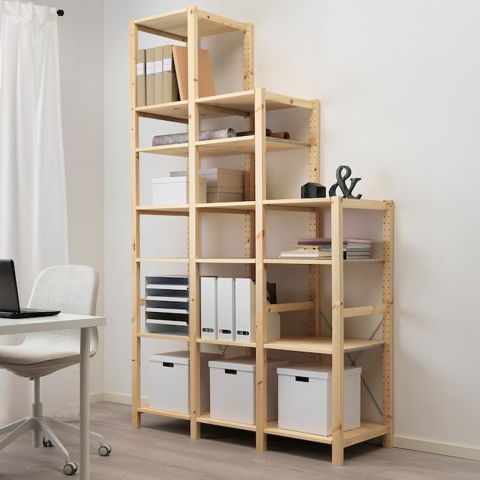 Ivar 3 Section Shelving Unit Pine Width 54 3 4 Ikea In 2020 Shelving Unit Ikea Shelving Unit Shelves In Bedroom