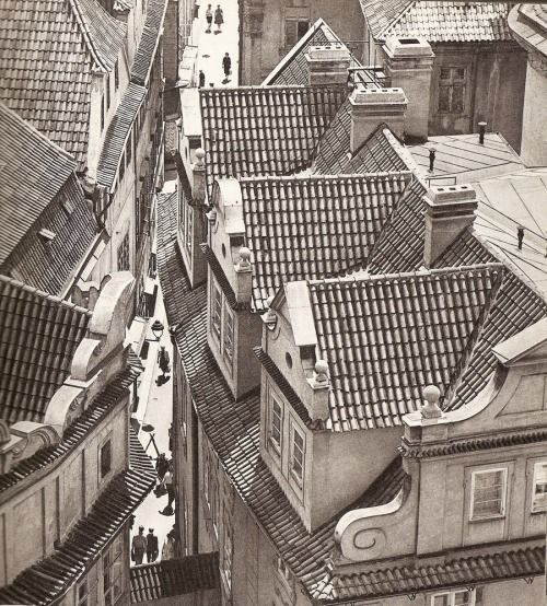 Melantrichova street from above #1 in Prague by Karel Plicka
