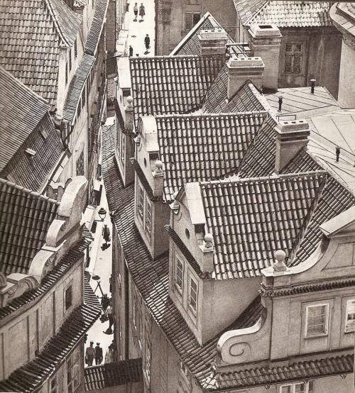 Melantrichova street from above #1 in Prague by Karel Plicka