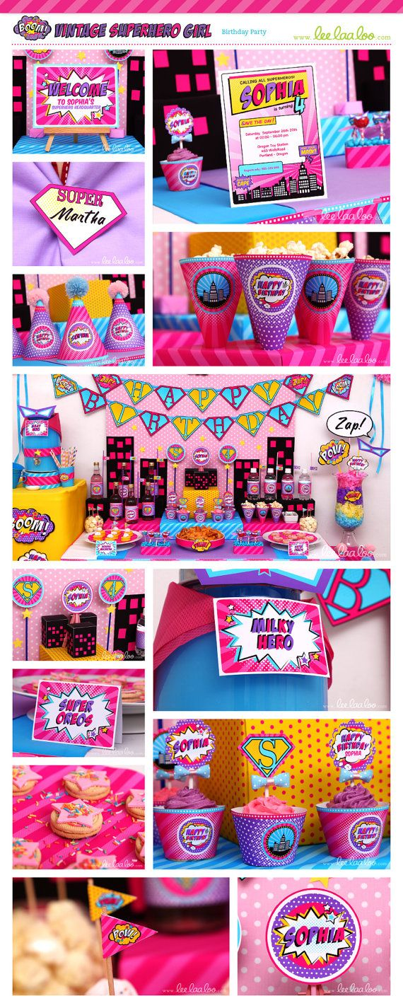 ♥ Vintage Superhero Girl Birthday Party Theme ♥  Shop Them Here:  https://www.etsy.com/shop/LeeLaaLoo/search?search_query=b77&order=date_desc&view_type=gallery&ref=shop_search  ♥♥♥ Vendor Credits:  ♥ Party Styling: LeeLaaLoo - www.leelaaloo.com  ♥ Party Printable Design & Decoration: LeeLaaLoo - www.etsy.com/shop/leelaaloo  Our YouTube channel for some DIY tutorials here: http://www.youtube.com/leelaaloopartyideas