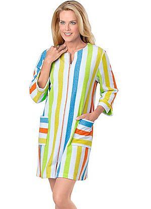 Creation L Short Stripe Bathrobe #kaleidoscope #nightwear