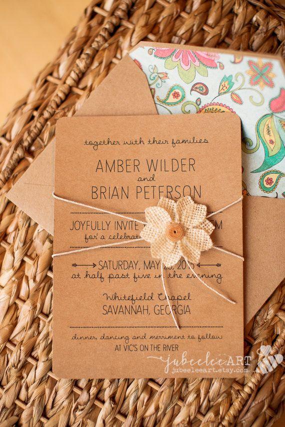 Rustic elegant wedding invitation printed or by JubeeleeArt