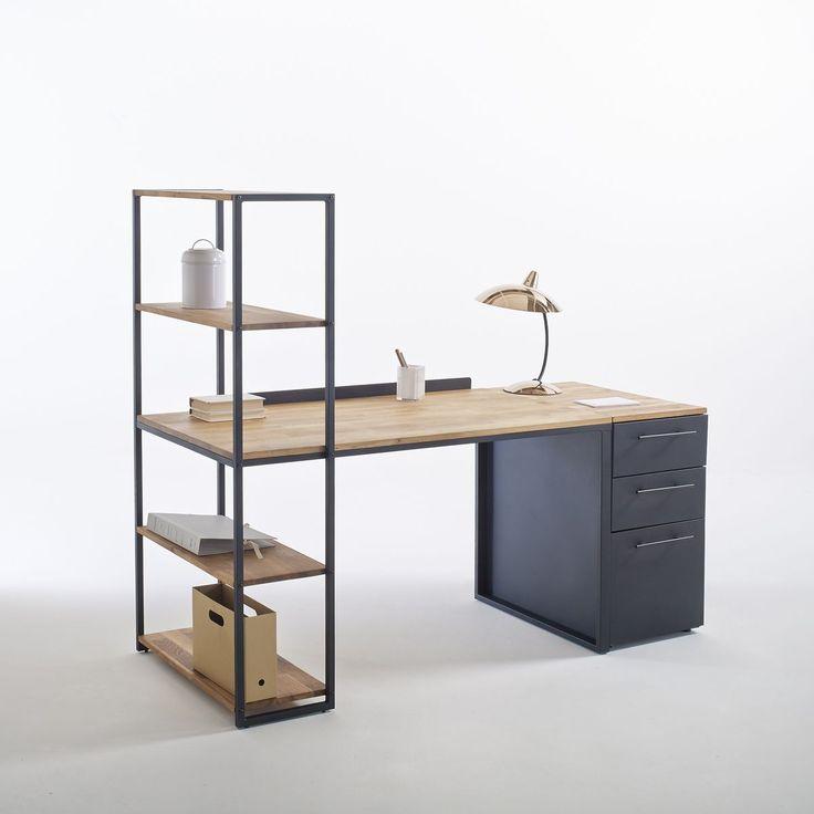 bureau biblioth que m tal et ch ne massif hiba style. Black Bedroom Furniture Sets. Home Design Ideas