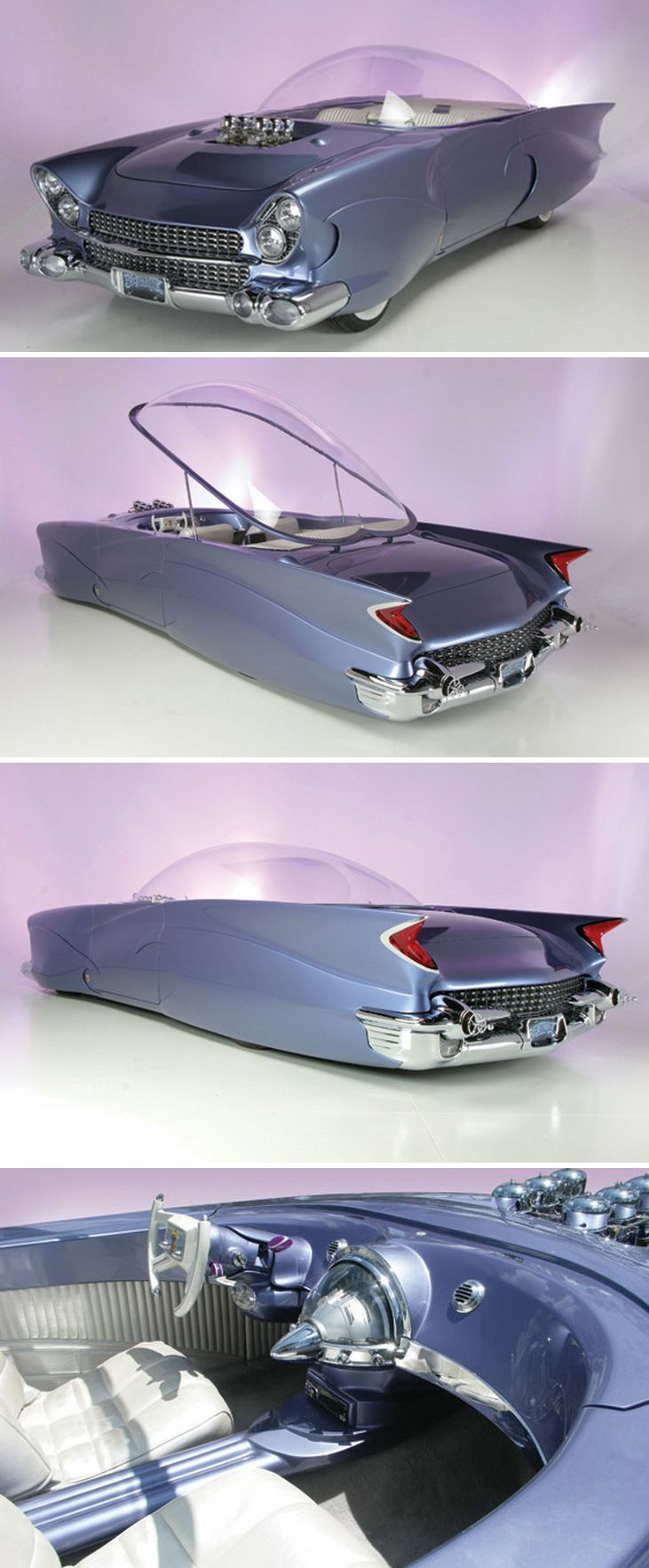 1955 Ford Beatnik Bubble Top concept car.  If this is genuine, then we now know where GM got its design inspiration for Late-50s / Early-60s Cadillacs.