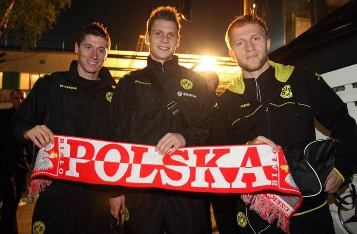 """Borussia Dortmund's Polish contingent (from left to right): Robert Lewandowski, Łukasz Piszczek and Jakub Błaszczykowski. (also known as """"Polonia Dortmund"""" and """"the Bermuda Triangle for female Bayern fans"""")"""