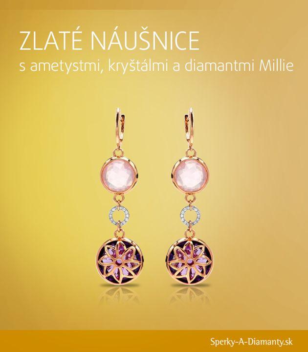 Millie - Golden earrings with amethyst, rock crystal and diamonds, Zlaté náušnice s ametystmi, krištáľmi a diamantmi Millie        Viac na: