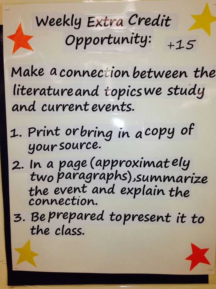 Weekly extra credit idea ... Perhaps best done once a unit.