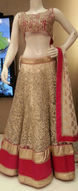 beige and pink pop of color lengha