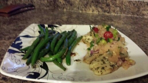 Baked tilapia with pineapple and cherry salsa