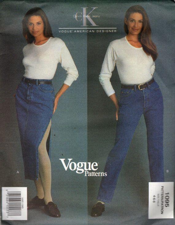 Vogue 1095 JEANS & JEAN SKIRT Calvin Klein Vogue American Designer © 1993 Petite Sizes
