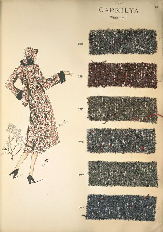 Caprilya. Imported French fabrics, E. Meyer & Co., Paris; fall, 1930-1931. Science, Industry and Business Library / General Collection Division New York Public Library  Digital ID: 1159029  Record ID: 451576