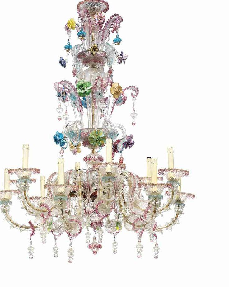 A venetian murano glass twelve-light chandelier probably 1950s-60s #lestroisgarcons