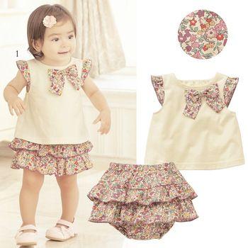 Дети цветы бант - узел топы + гофрирование брюки 2 шт. комплект наряды девочки одежда 0-3Y