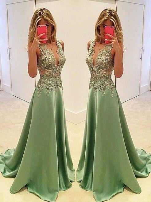 Sexy Appliques Prom Dresses,Long Evening Dresses,
