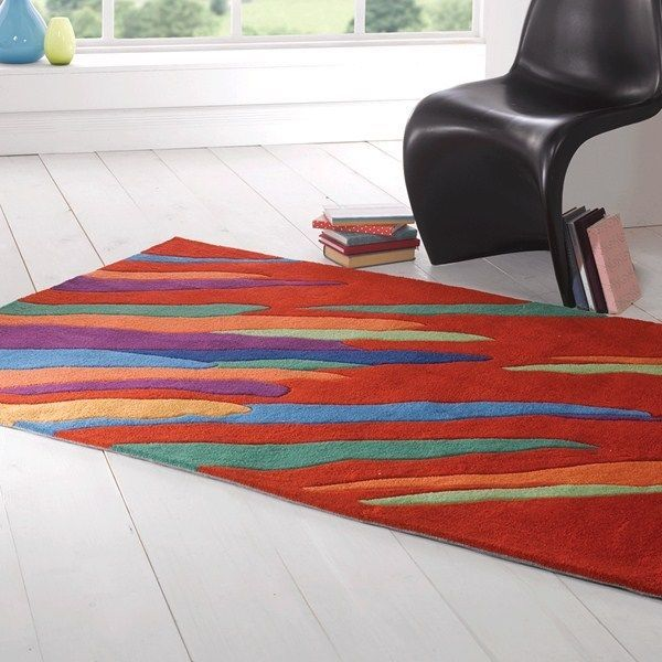 Large Contemporary Infinite Artist Red Funky Rug 150 X 220cm 4 9 7ft 2