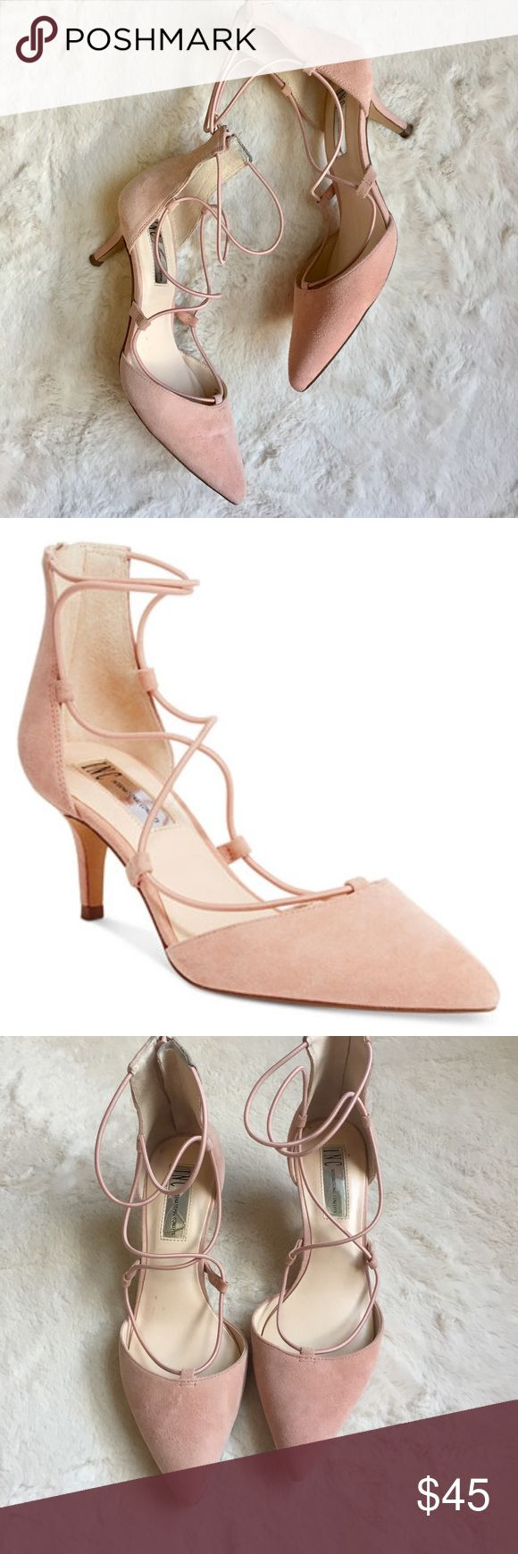 """Blush Pink Suede Daree Lace-Up Pumps Item: INC Designed for Macy's Daree Pink Elastic Lace-Up Heels with pointed toe, 2.5"""" kitten heel & back zipper closure Size: 7 Condition: Good pre-owned - worn three times - shows wear to soles & heel tips, some rub off marks from dark denim & some marks on suede (see pics)  *These shoes will definitely not be comfortable for wide feet! Elastic laces are very snug.* INC International Concepts Shoes Heels"""