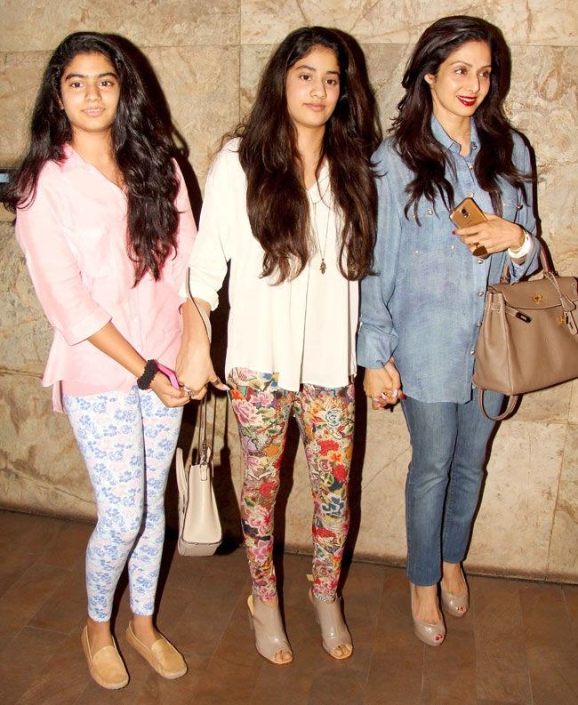 Sridevi with daughters Jhanvi (centre) and Khushi at a screening of 'Fugly'. I think they always coordinate their outfits