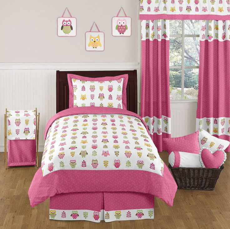 Charming Pink Happy Owl Bedding By Sweet Jojo Designs   Childrens Twin Bedding