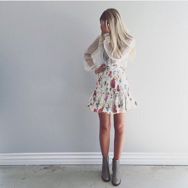 ZIMMERMANN / Winter, Summer, Spring, Autumn fashion, outfit inspo, boots, wiinter boots, designer, skirt, runway, collection, floral, lace, skirt, shirt, sheer, khaki, blonde, hair, tan, skin, love