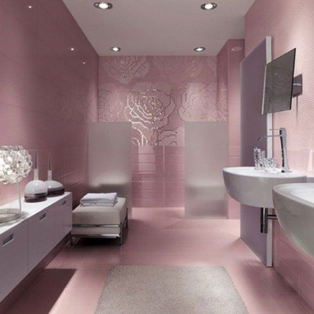 contemporary women bathroom ideas with blush pink floral decoration