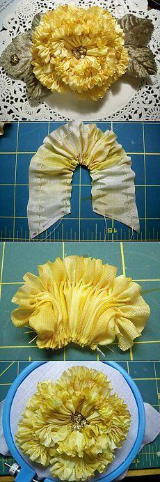 Роскошный многослойный цветок из ткани — Рукоделие: