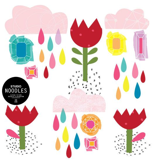 April showers and pretty tulips. The gems of spring #studionoodles