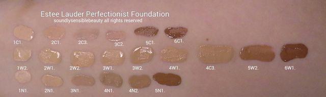 Estee Lauder Perfectionist Youth Infusing Foundation, Swatches of Shades 1C1 Cool Bone, 2C1 Pure Beige, 2C3 Fresco, 3C2 Pebble, 5C1 Rich Che...