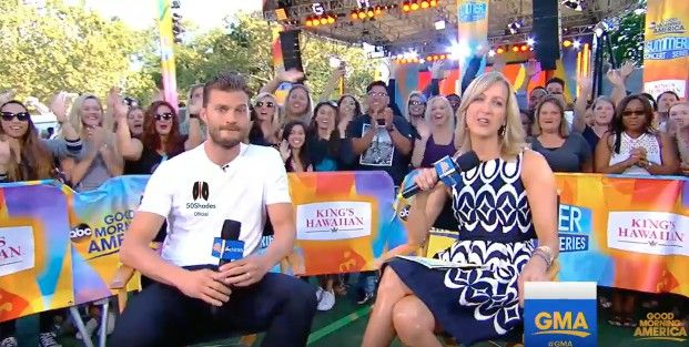 #JamieDornan promoting #Anthropoid On GMA with Laura Spencer