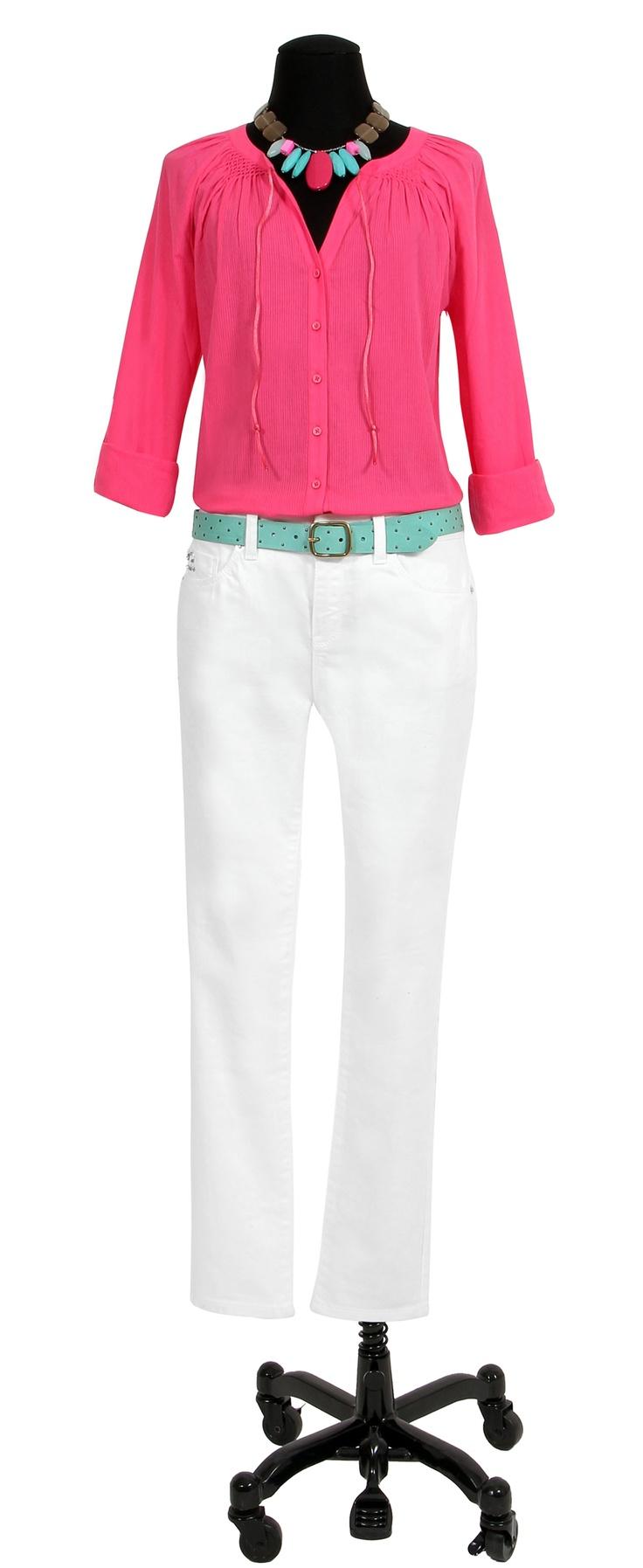 1.2.3 Paris - Blouse Lena 59€ Pantalon Dona 89€ Ceinture Olba 39€ Collier Zoé 49€ #turquoise #rose #blanc #fuchsia #fluo #bleu #mode #ete #123