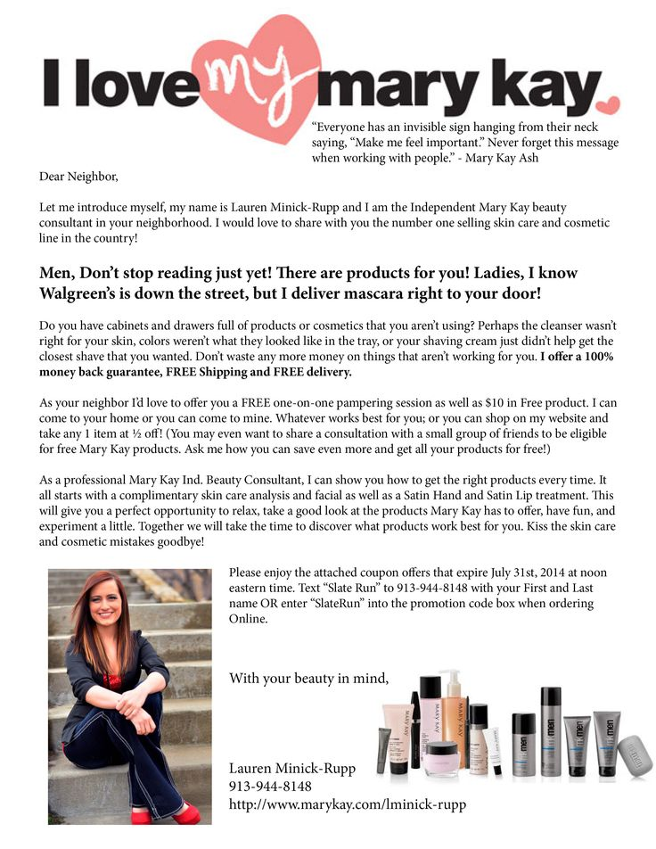 Mary Kay Letter to Neighbors http://www.marykay.com/lisabarber68 Call or text 386-303-2400