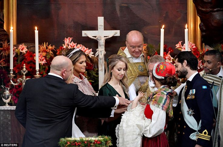 Gabriel wore the same cotton and lace gown that has been passed through generations of the Swedish royals and was baptised in with water from a spring on the Swedish island of Öland. Pictured: Godparents Thomas de Toledo Sommerlath, princess Madeleine of Sweden and Sara Hellqvist
