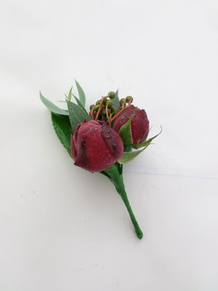 Wedding buttonhole with deep red roses. Created by http://floristilene.co.nz/