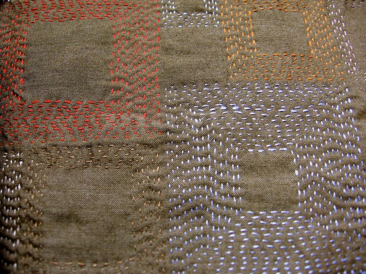 Kantha Stitch Tutorial   ... whole cloth patterned with kantha stitch squares of different sizes