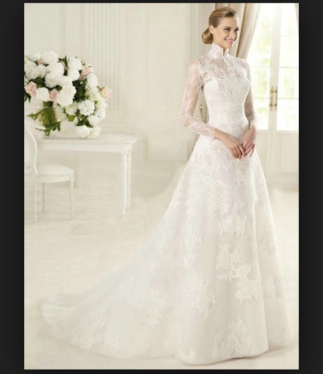 Trending Dream wedding dress Chinese collar modest long sleeves suitable for Malay standards