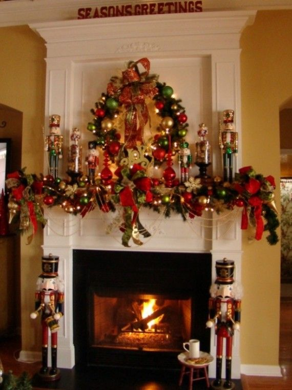 Red Mantel Christmas Fireplaces Decoration Ideas 570x760 23 Mantel Christmas Fireplaces Decoration Ideas