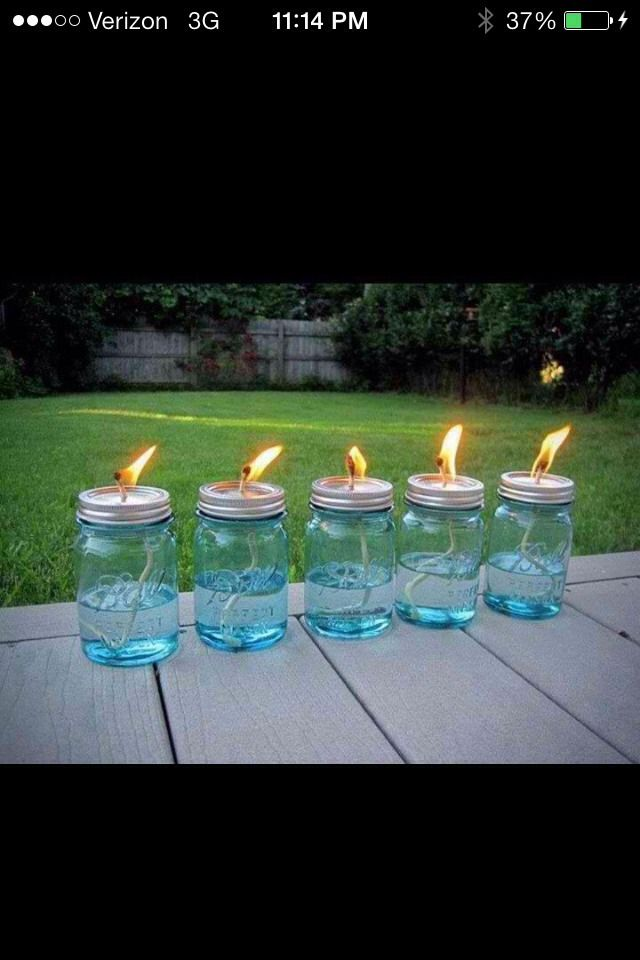 Just drill a hole it the top of the jar about the same size as the wick. Then buy some citronella and fill the jars easy :)