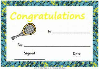 Tennis Certificate - Congratulations