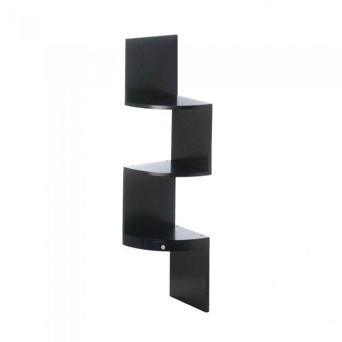 3-Tier Black Corner Shelf